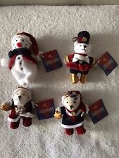 "Set of 4 Christmas Ornaments ""SANTA, MRS. CLAUS, SNOWMAN & SOLDIER""  NEW w/Tags!"