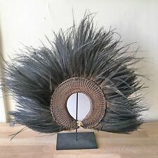 Rare Authentic New Guinea Tribal Ceremonial Cassowary Feathers Headdress