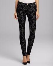 Seven 7 For All Mankind Skinny Floral Flocked Velvet Jeans Size 25 0 (Orig $198)
