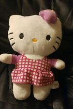 "HELLO KITTY IN PINK DRESS BY FIESTA 11"" TALL STUFFED PLUSH DOLL FREE SHIPPING"