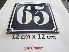 Hausnummer Emaille Nr. 65 weisse Zahl auf blauem Hintergrund 12 cm x 12 cm