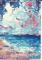 CALM WATERS. Original Acrylic Ocean Landscape Knife Painting ACEO Beach ART mini