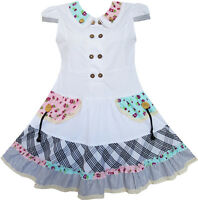 Sunny Fashion Girls Dress White Cute Colorful Collar Back School Age 6-14
