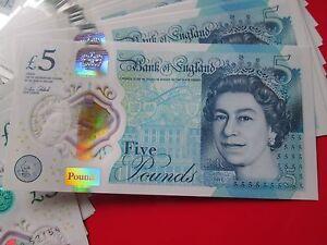 MINT CONDITION 1 x 2016 Polymer £5 Five Pound Note Consecutive S/No's AK Prefix