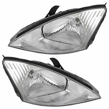 2000 2001 2002 FORD FOCUS W/CHROME BEZEL HEADLIGHTS HEADLAMPS LIGHTS LAMPS PAIR