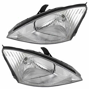 FITS FOR 2000 2001 2002 FORD FOCUS W/CHROME BEZEL HEADLIGHTS RIGHT & LEFT