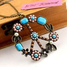 Jewelry Betsey Johnson Retro Pendant Enamel crystal flower chain necklace long
