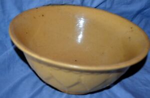 """Antique 12"""" Morton Yellow Ware Pottery Embossed Pattern Leaves Mixing Bowl"""