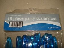 Kitchen Craft 18 Piece Blue Plastic Cutlery Set -  Unused