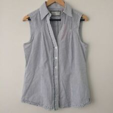 Regular Striped Button Down Shirt Sleeveless Tops & Blouses for Women
