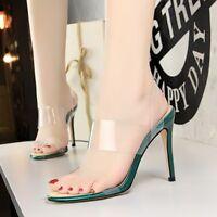 Fashion Women's Open Toe Clear High Heels Slingbacks Sandals Casual Shoes Size 8