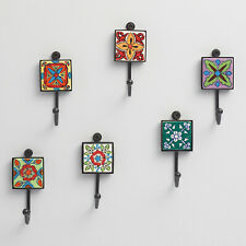 Set of 6 Colorful Wall Hooks Hangers, Ceramic & Metal Square Tile, Hand Painted