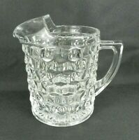 """Vtg Fostoria American Pitcher Clear Glass Cube 8.5"""" H Straight Sided Flat Bottom"""