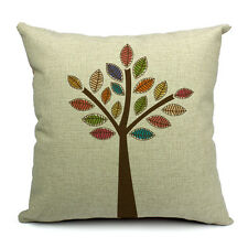 Vintage Linen Hemp Couch Sofa Cushion Cover Pillow Colourful Hand Tree 45x 45 Cm
