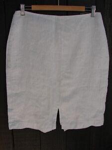 Banana Republic White Grey Linen Pencil Skirt Size 8 NWT MSRP $59.99