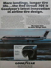 5/1981 PUB GOODYEAR AEROSPACE AIRLINE TIRE PNEU RED STREAK 705 DC-9 SUPER 80 AD