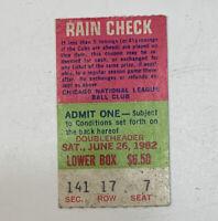 1982 Chicago Cubs v St. Louis Cardinals Wrigley Field MLB Ticket Stub 6/26/82