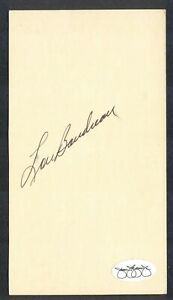 LOU BOUDREAU {1917-2001} Signed Time Card INDIANS, RED SOX, HOF JSA