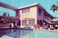 HILLSBORO HOUSE MOTEL POMPANO BEACH, FL 1966 woman waves from pool