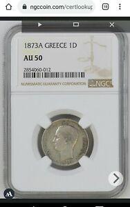 1873-A GREECE 1 Drachma Silver coin George I NGC AU-50