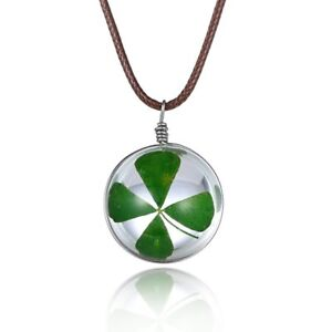 Charm Real Green Lucky Shamrock Clover Four Leaf Round Pendant Necklace Friends