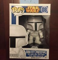 Funko POP White Prototype Mandalorian Boba Fett Star Wars NEW VAULTED No Sticker