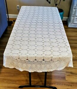 """VTG OVAL ECRU HAND CROCHETED LACE COTTON TABLECLOTH 100""""X60"""""""