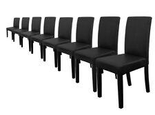 8x [en.casa]® Stühle Hochlehner Esszimmer Stühle Schwarz Kunst-Leder  Stuhl