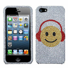 For iPhone 5 5S SE Crystal Diamond BLING Hard Case Phone Cover Music Smile