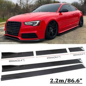 "86.6"" Black Car Side Skirt Splitter For Audi A3 A4 A5 TT Q3 Q7 RS5-7 S3 S4 XL AU"