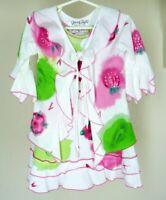 Crazy Fish Girls Floral Dress 2 Pc Sz 3 4 Pink Green Ruffle Tie Artsy Hawaii