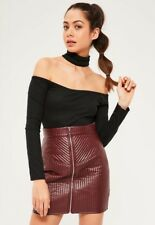 BNWT Missguided Bardot Choker Top Size 10 Crop Textured Ribbed Black Tab Neck