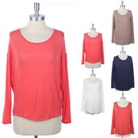 PLAIN KNIT TOP Relaxed Shirt Solid Round Neck High Low Hem Top Long Sleeve S M L