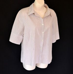 JAG SHIRT / TOP / BLOUSE SHORT SLEEVE WHITE BROWN BLUE 100% COTTON OFFICE s 14