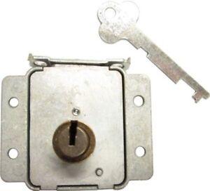 Steel Cedar Chest FLUSH MOUNT LID LOCK WITH BARREL trunk steamer key antique ...