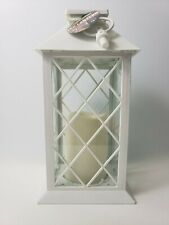 Decorative White LED Lantern with Pillar Candle Indoor and Outdoor Lantern