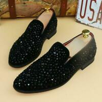 Men Glitter Slip On Loafers Bling Bling Rhinestones Driving Formal Pumps Shoes