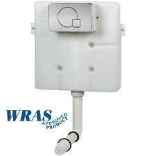 Concealed Back to Wall Toilet Slim Line Cistern Chrome Plated Square Button Dual