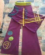 ZUMBA 2 PIECE OUTFIT PURPLE LIME TOP LARGE, BOTTOMS SMALL(bottoms Run Bigger)