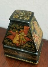 """Palekh Палех Russian Lacquer Box 4 sides  Chest """"The Fairytales"""" 1990 Suloyeva"""