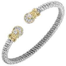 -9.5 0.2 cttw Round Cut White Natural Diamond Infinity Wave Bolo Bracelet 14k Gold Over Sterling Silver