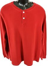 Polo Ralph Lauren Men's Polo Pullover Size Large Red Long Sleeve 2 Button Cotton