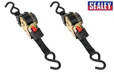 2 X Sealey ATD25301 Auto Retractable Ratchet Tie Down 25mm x 3mtr 600KG Capacity