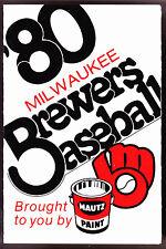 1980 MILWAUKEE BREWERS MAUTZ PAINT BASEBALL POCKET SCHEDULE FREE SHIPPING