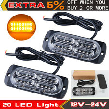 2X 20LED Light Car Truck Emergency Beacon Warning Hazard Flash Strobe Lamp Amber