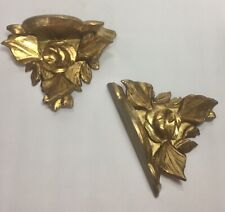 Vintage Pair French Wood Rococo Style Wall Shelf Sconces