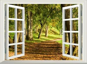 Path in Forest 3D Effect Window View Wall Sticker Decal Poster Vinyl Mural Art