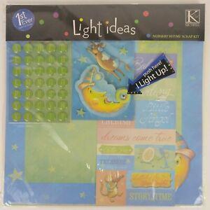Scrapbook Paper Kit Nursery Rhyme Light Up K&Company 12x12 Angel Baby Moon Stars