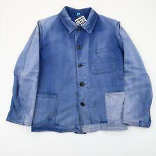 VINTAGE French EU Worker CHORE Work Shirt Jacket Worn Faded SZ Small (E4949)