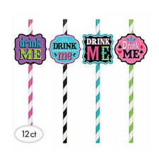 12 Mad Tea Party Paper Drinking Straws Party Decor Supplies